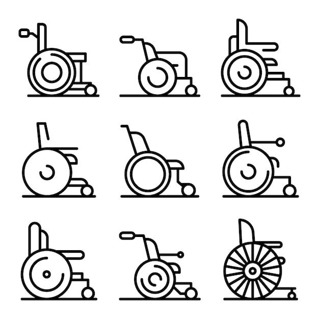 Wheelchair icons set, outline style Premium Vector