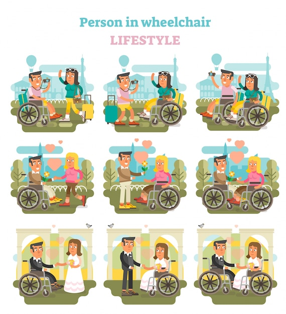 Wheelchair person lifestyle vector illustration collection. Premium Vector