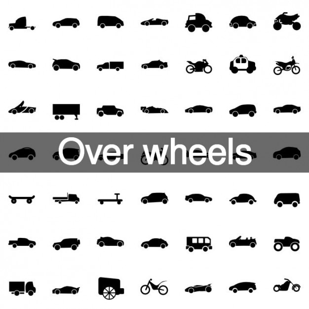 Over wheels icons collection Free Vector