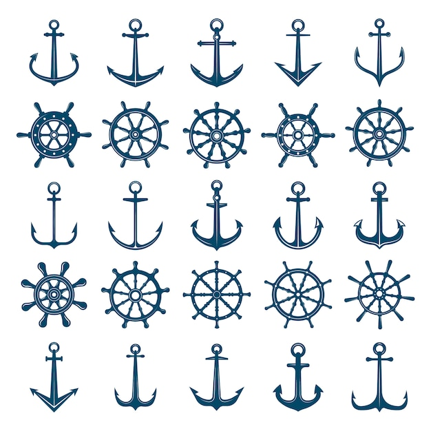Wheels ship anchors icon. steering wheels boat and ship anchors marine and navy symbols.  silhouettes for logo  or tattoo Premium Vector
