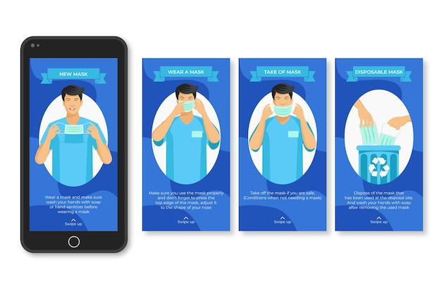 When and how use sanitary protective equipment instagram posts Premium Vector