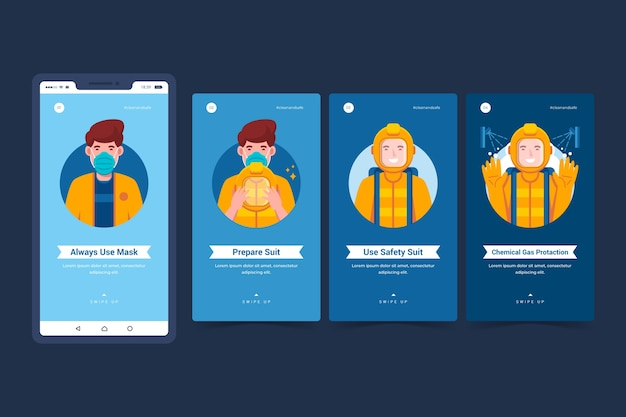 When and how use sanitary protective equipment instagram stories Free Vector