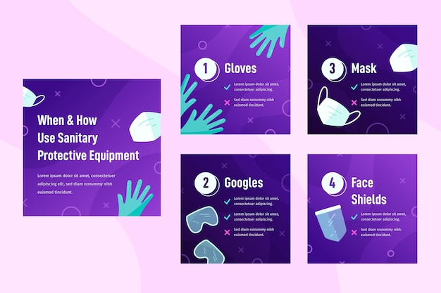 When and how to use sanitary protective equipment Free Vector
