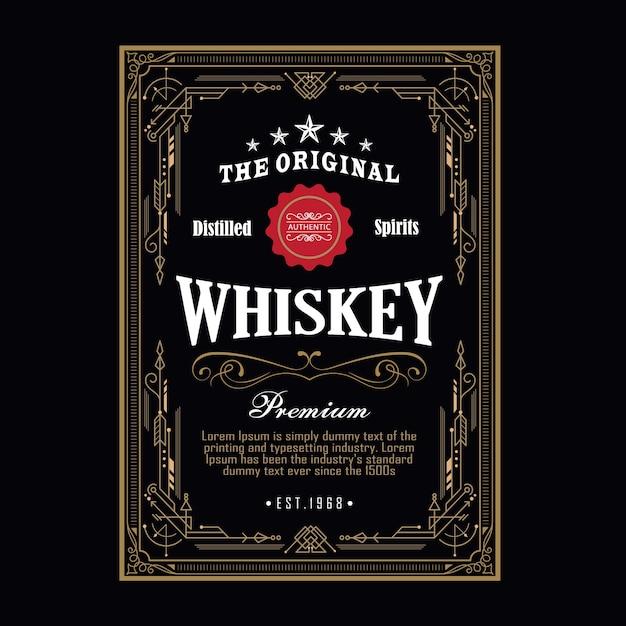 Виски антикварная граница винтажная рамка западная гравюра этикетка ретро векторная иллюстрация Premium векторы