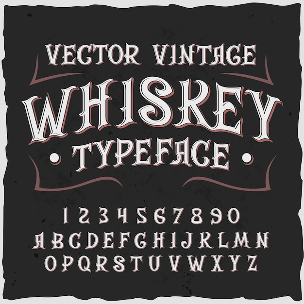 Whiskey background with vintage style label text ornate digits and letters with frame  illustration Free Vector