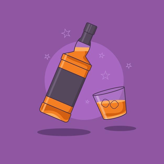 Бутылка виски с бокалом виски, изолированных на фиолетовом фоне Premium векторы