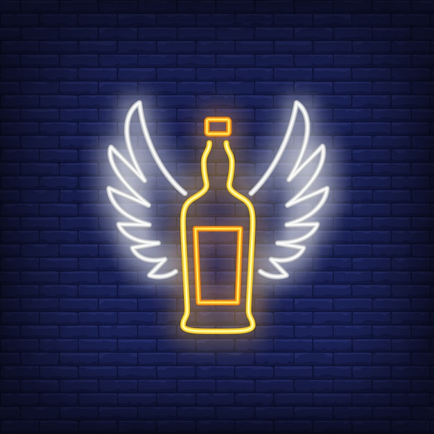 Whiskey bottle with angel wings neon sign Free Vector