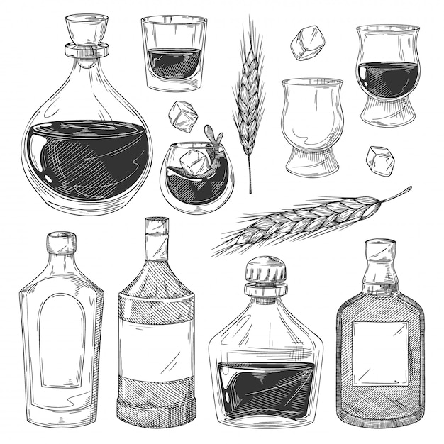 Whiskey bottles sketch set.  scotch whiskey drink glasses, bottles with blank labels, ice cubes, barley ears icon collection.  vintage alcohol beverage illustration Premium Vector
