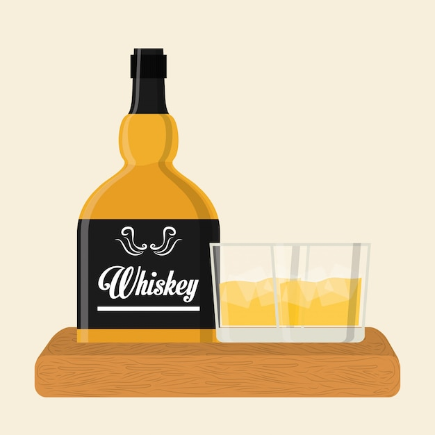 Whiskey icon design Premium Vector