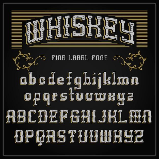 Шрифт этикетки виски и образец дизайна этикетки. винтажный шрифт в черно-золотых тонах, редактируемый и многослойный Premium векторы