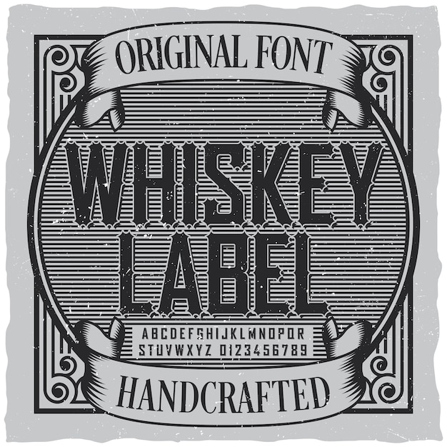 Whiskey label font label Free Vector