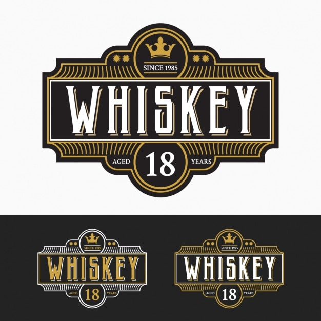 Whiskey labels collection Free Vector