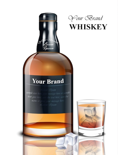 Whiskey realistic bottle. product packaging brand design. place for texts Premium Vector