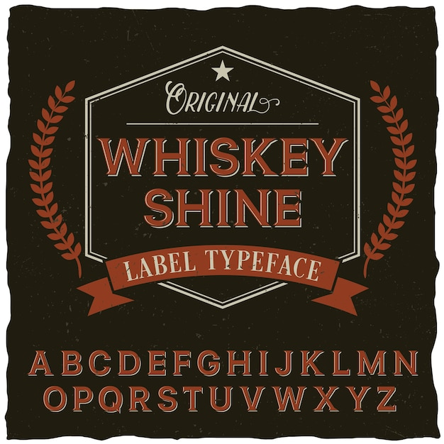 Whiskey shine font poster with decoration and ribbon in vintage style Free Vector