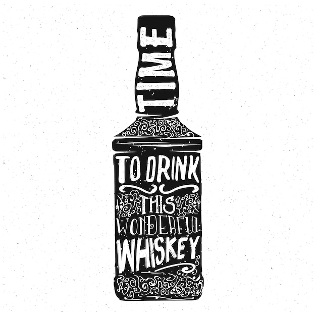 Whiskey typography design, lettering inside the whisky bottle, vector Premium Vector