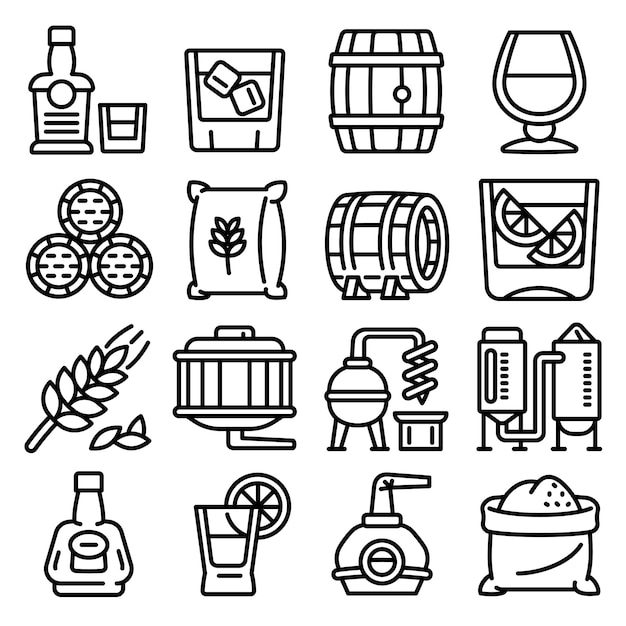 Whisky icons set, outline style Premium Vector