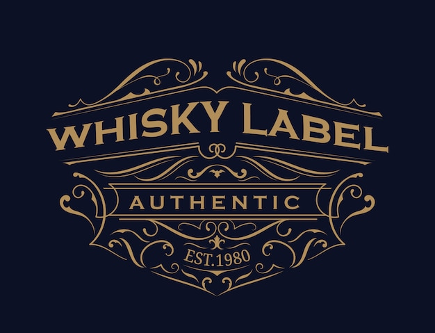 Whisky label antique typography vintage frame logo design Premium Vector
