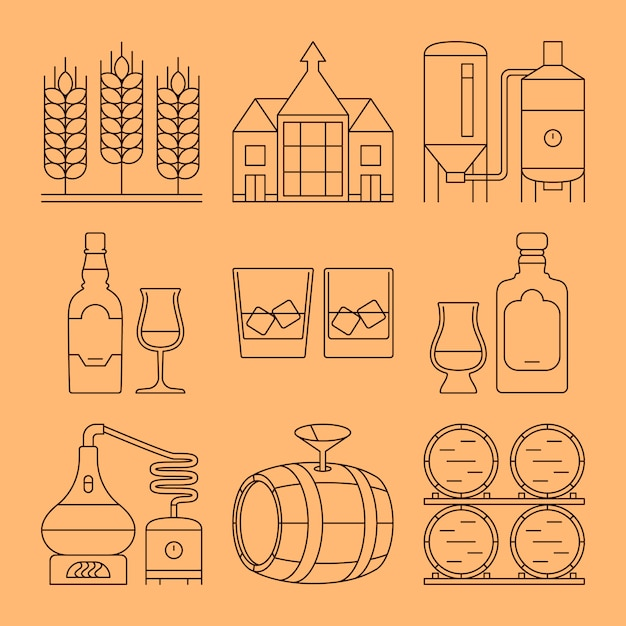 Whisky line icons set. process and industry outline symbols Premium Vector