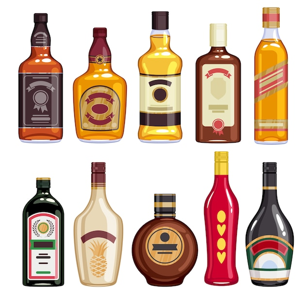 Whisky and liquor bottles icons set. Premium Vector