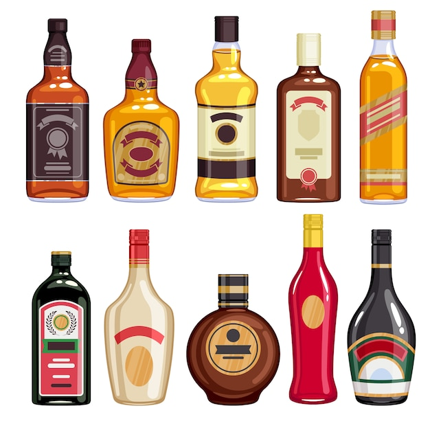 Whisky and liquor bottles icons set. Premium Vector