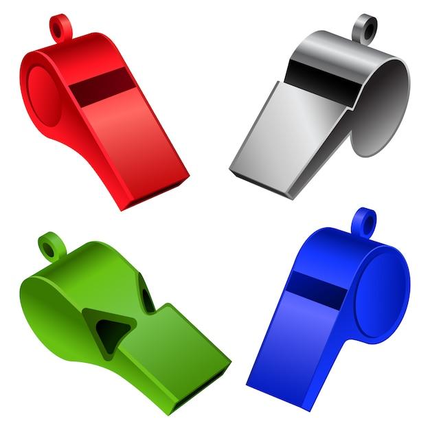 Whistle coaching blow mockup set Premium Vector