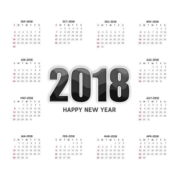 white 2018 calendar free vector