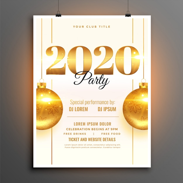 White 2020 new year party celebration  template Free Vector