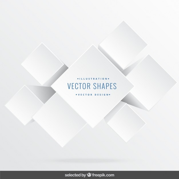 White 3d cubes Free Vector