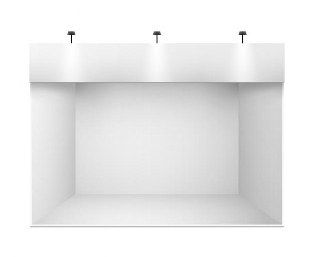 White 3d exhibition presentation stand Premium Vector