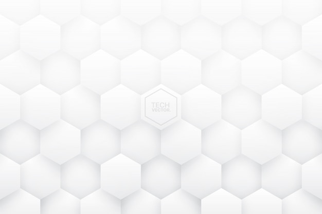 White 3d hexagons abstract background Premium Vector
