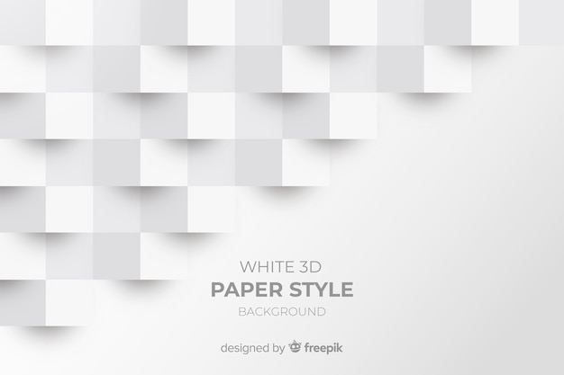 White 3d Paper Style Background Vector