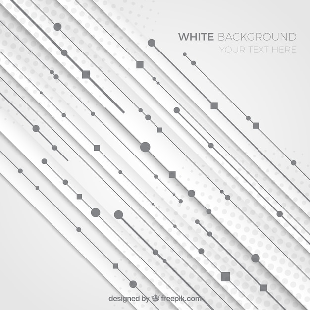 White abstract background with lines and dots