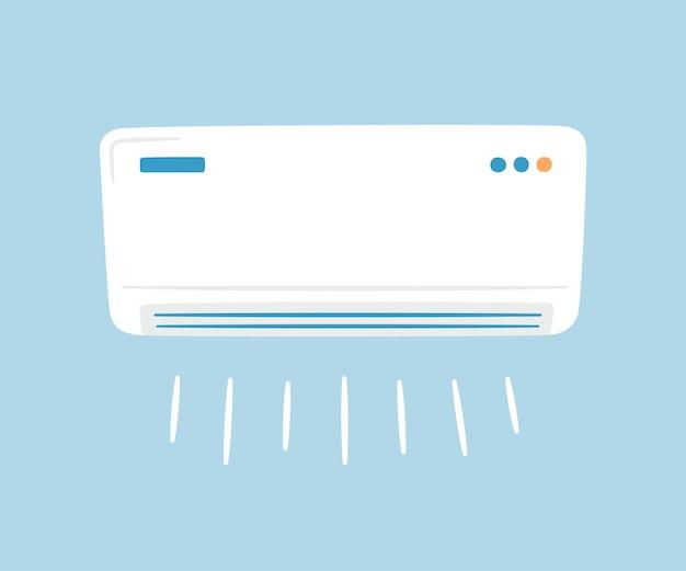 White air conditioner. climate control concept. hand drawn Premium Vector