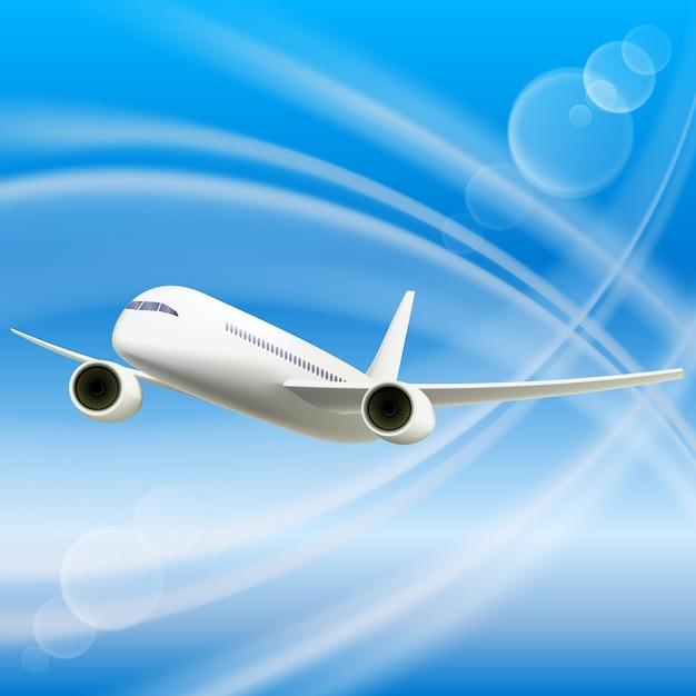 空の白い飛行機 無料ベクター