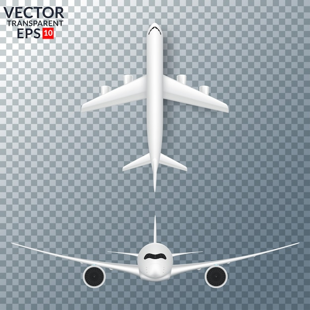 White airplane with shadow set isolated vector illustration Premium Vector