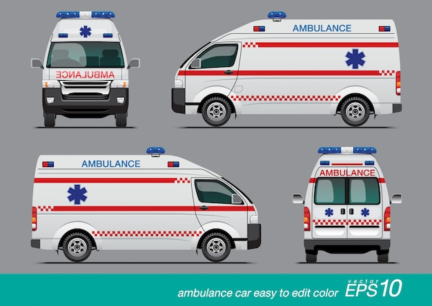 White ambulance van Premium Vector