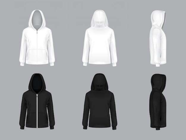 長い袖とポケット付きの白と黒のパーカー、正面、背面、側面図、 無料ベクター