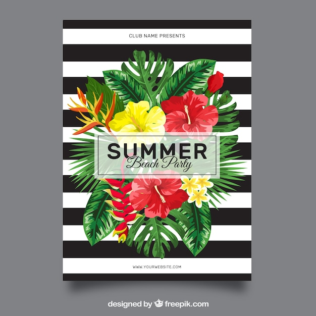 White and black striped brochure with summer party flowers Free Vector