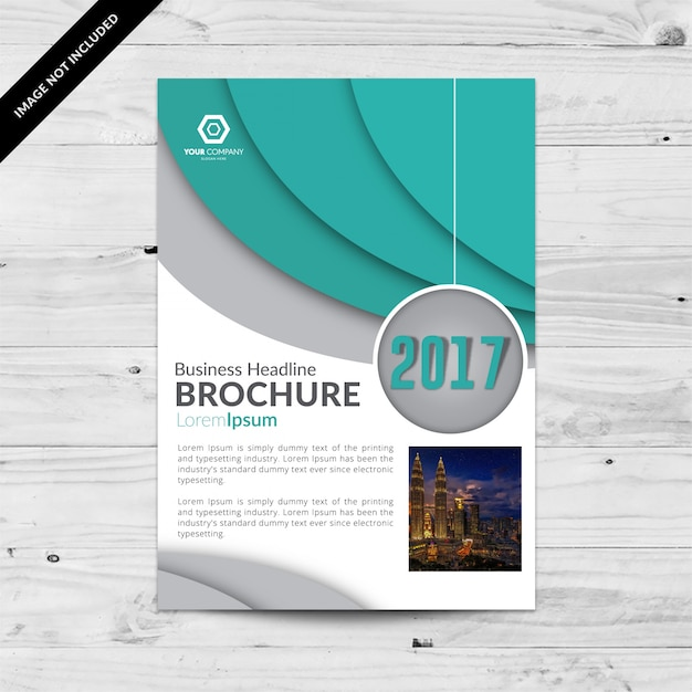 White and blue business brochure with grey details