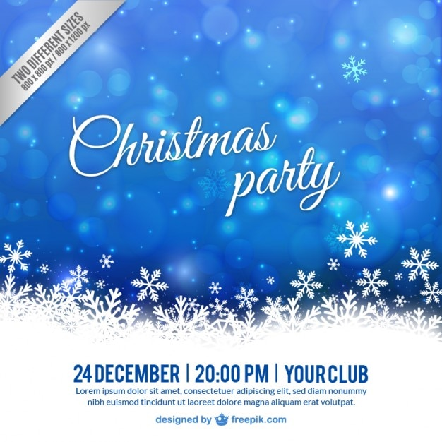 white and blue christmas party poster vector