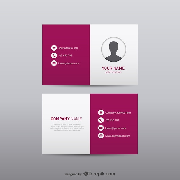 White and burgundy business card Vector
