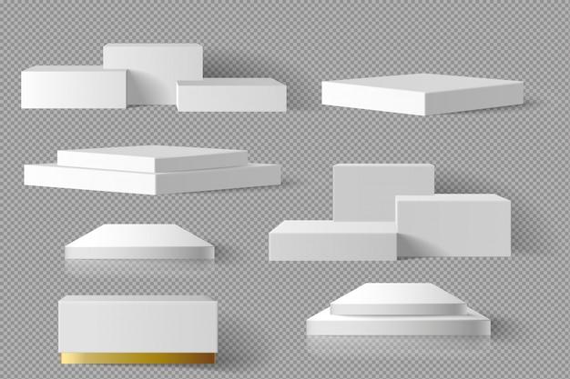 影の背景を持つ白と金の空白ボックス正方形ブロック大理石テンプレートセット。コンセプト表彰台ステージショーケース3d現実的 Premiumベクター