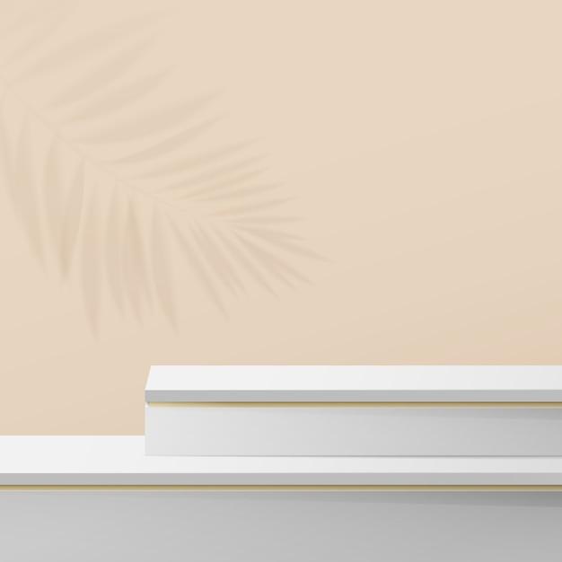 흰색과 금색 대리석 연단 디스플레이 구성. 프리미엄 벡터