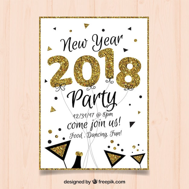 White and golden flyer for new year party Vector | Free Download