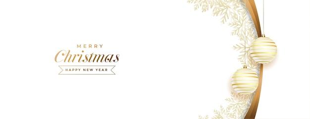 ボールの装飾が施された白と金色のメリークリスマスバナー 無料ベクター