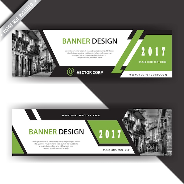 White and green banner Free Vector