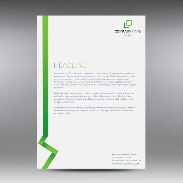 White And Green Business Document Vector | Free Download