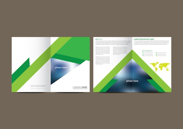 White and green geometric business brochure