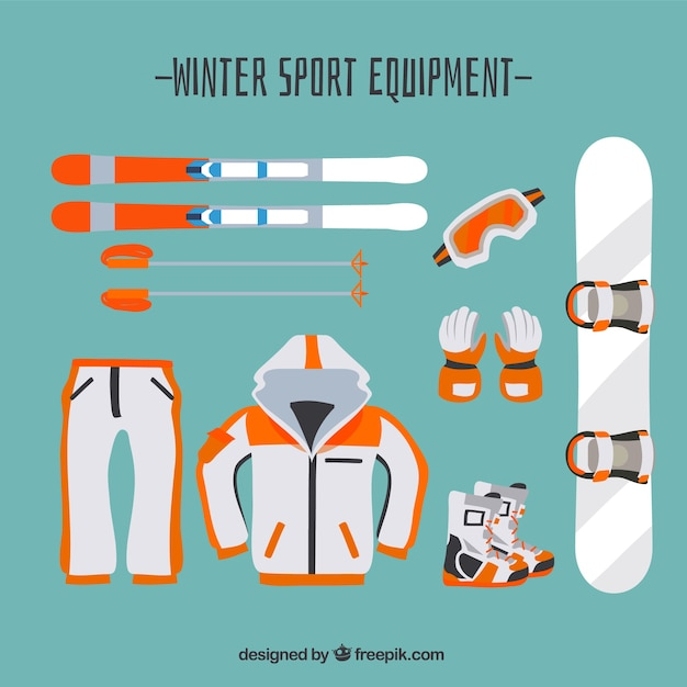White and orange winter sport equipment
