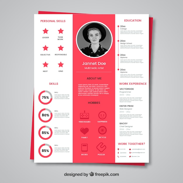 White and pink cv concept Vector | Free Download